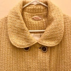 Vintage Yellow Coat with Brown Buttons